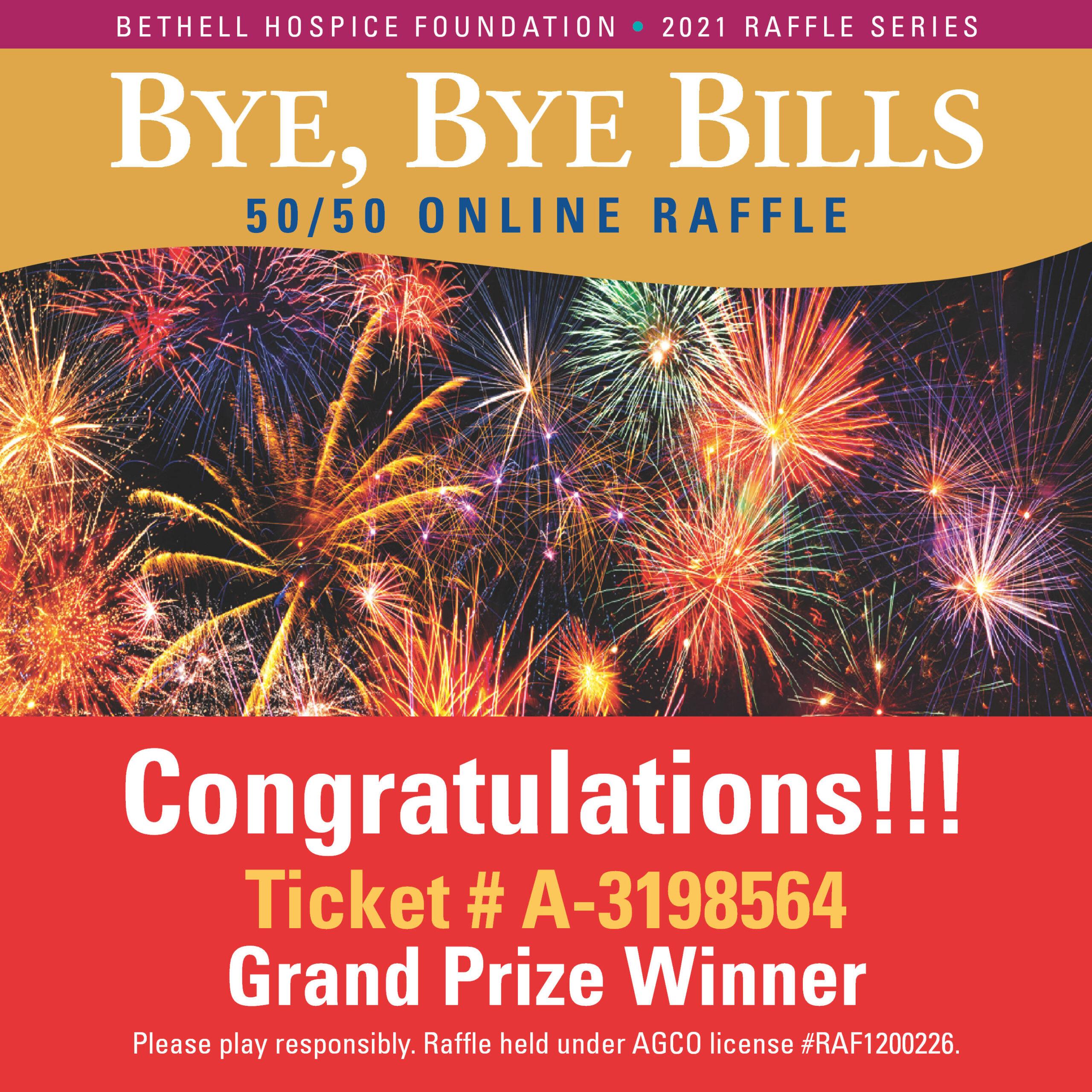 Bye Bye Bills 50/50 Raffle